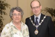 Councillor Heathcliffe Bowen presenting an award to Jeanne Hardwick of Ilkley Senior Citizens in 2012