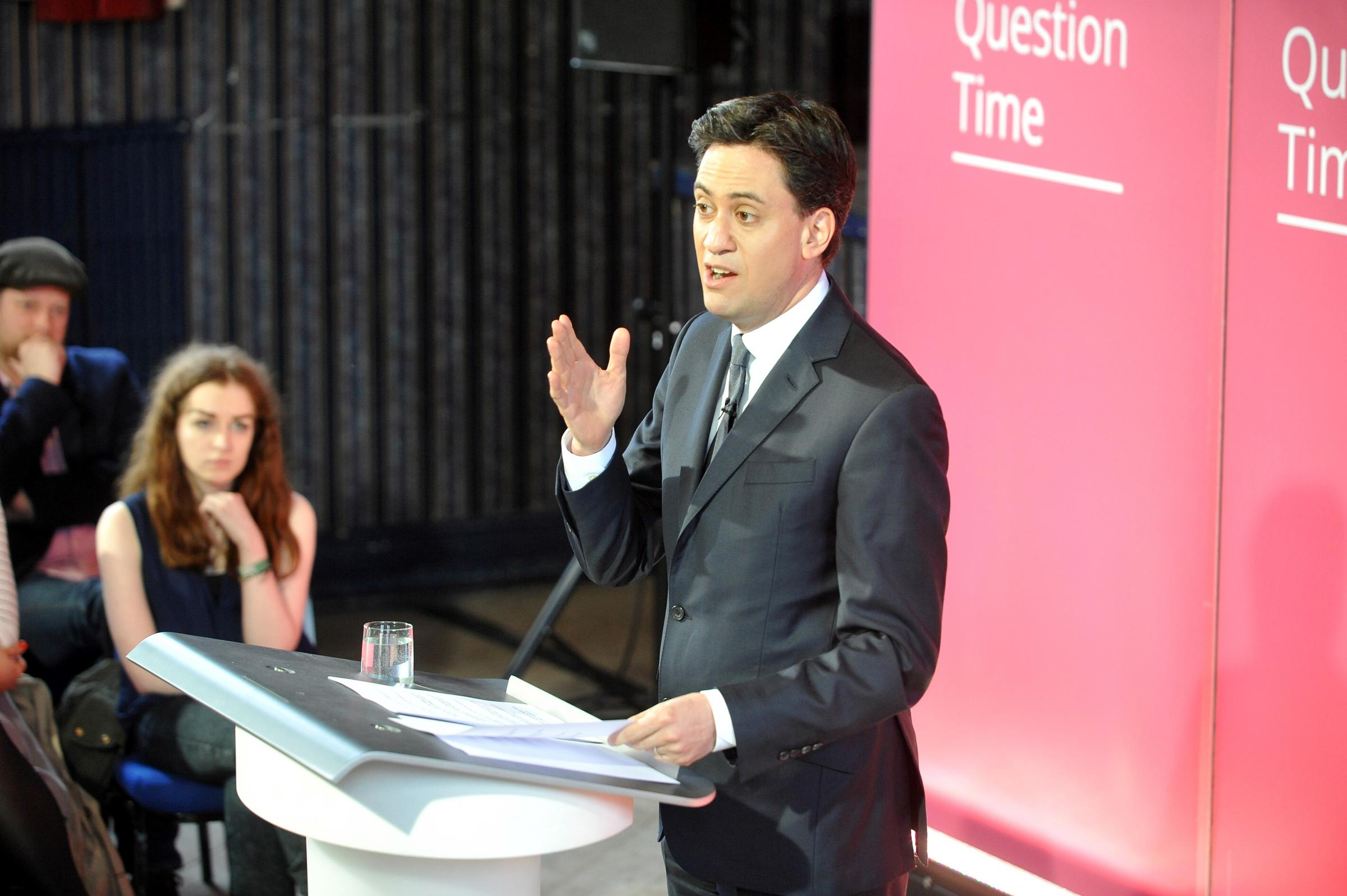 Ed Miliband at the campaign meeting at Guiseley Theatre