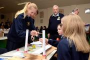 Giggleswick School students work on their bridge building project