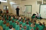 Author Andrew Newbound, who entertained a whole school assembly at Ashlands Primary School