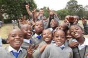 Crossflatts Primary School teacher Richard Atkins with primary school pupils in Nairobi, Kenya