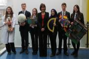 Celebrating - headteacher Janet Sheriff (centre) with students at Prince Henry's Grammar School.