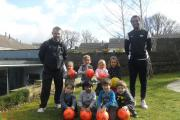 Children from Ilkley Pre-school Playgroup with the Fisical sports coaches