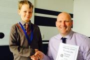 William and Headteacher David Martin.