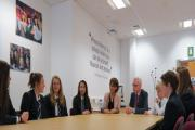 Headteacher Janet Sheriff and Leeds City Council's Paul Brennan with students at Prince Henry's Grammar School.