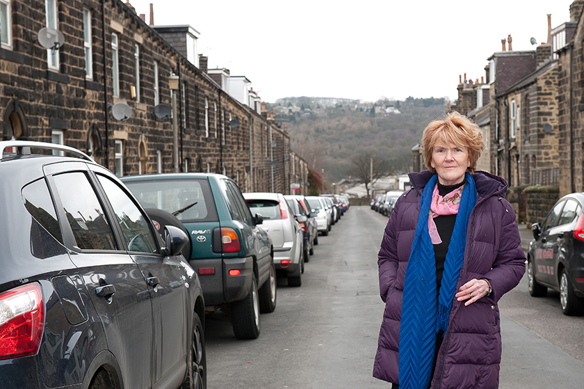 Ward councillor, Anne Hawkesworth, stands on Wellington Road, Ilkley