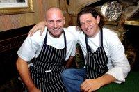 Top chefs Simon Gueller (left) and Marco Pierre White are pictured at the Box Tree in Ilkley.