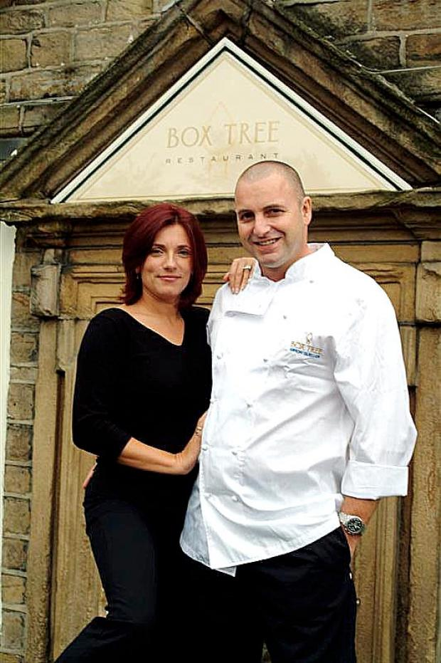 Simon and Rena Gueller outside the Box Tree restaurant