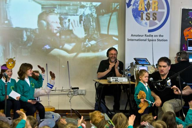 Four year old Esme Thorpe talks to astronaut Tim Peake from Ashfield Primary School, Otley. Picture by Richard Walker/ www.imagenorth.net.