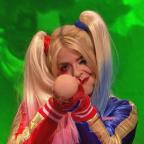 Ilkley Gazette: Holly Willoughby admits she's worse for wear while dressed as Harley Quinn on Celebrity Juice