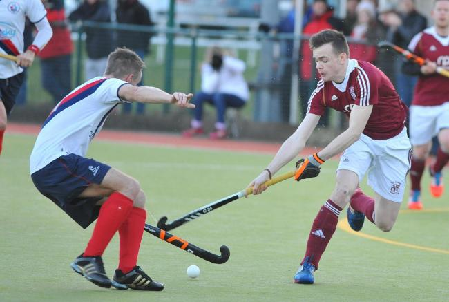 Ben Rhydding mens Hockey v Brooklands...Matty Barirstow  charging the booklands defence.