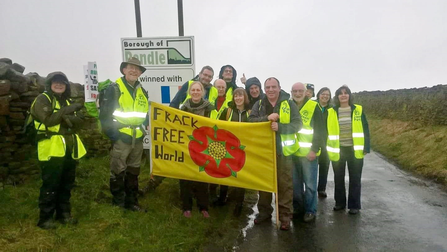 Otley Town Councillor Mick Bradley (third from left, back row) with other Green Party members walking the No Fracking Way