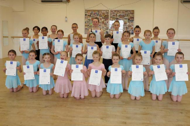 Talented children who attend the Northern Dance Centre classes in Ilkley and Skipton proudly display their recent ballet examination certificates. All achieved a distinction