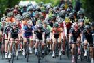 The peleton making its way through Otley is a colourful sight