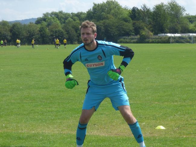 Ilkley Town goalkeeper James Hirst was in the thick of the action in last Saturday's game at Sherburn.