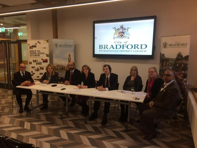 Bradford Council leader Susan Hinchcliffe (centre) outlined changes to the authority's budget alongside members of the authority's executive