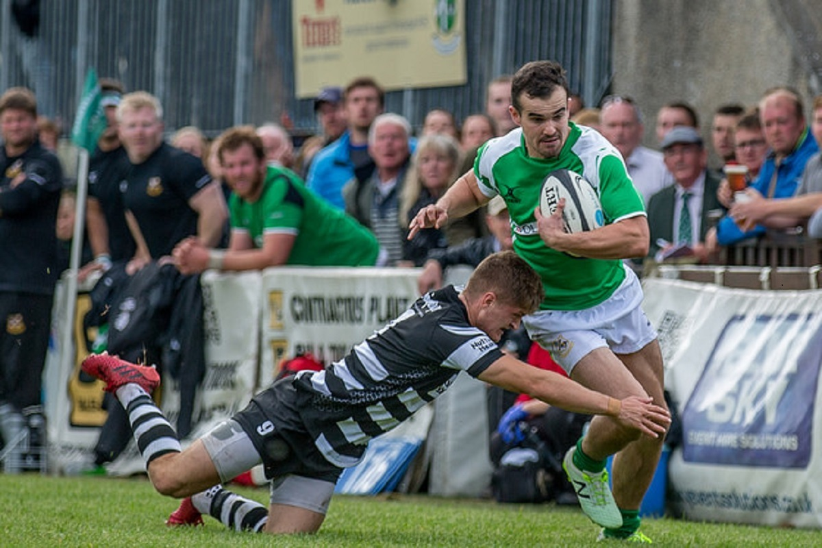 Wharfedale winger Oli Cicognini is tackled by Otley scrum half Max Johnson in the meeting between the sides at The Avenue in September Picture: Ro Burridge