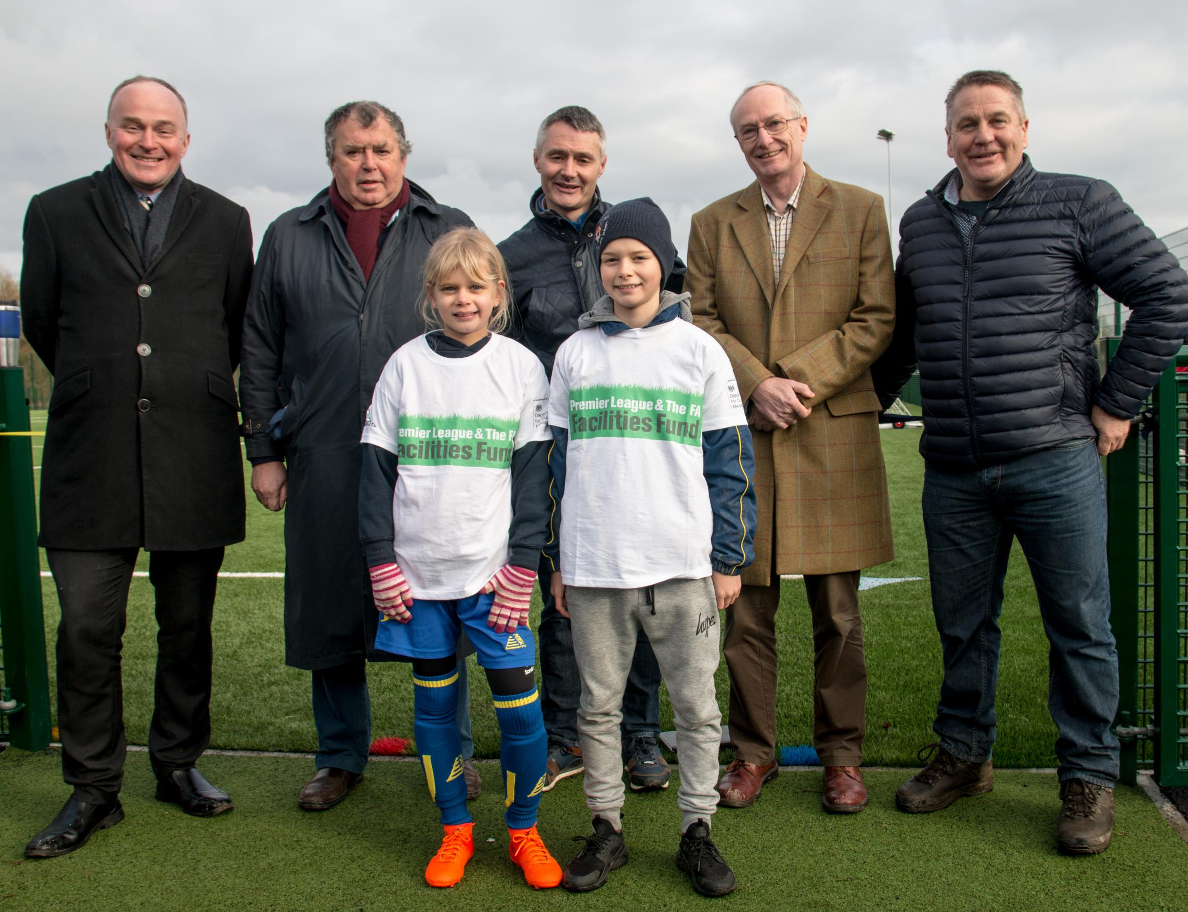 John Grogan MP, Mike Ridgeway Chairman of Awards Committee, Ilkley Parish Council, Richard Giles, Chairman Ilkley Town AFC, Steven Butler Chairman of Ilkley Parish Council, John Hendrie, Bradford City LegendFront row l-f Gemma Knight and Scott Knight. Pic