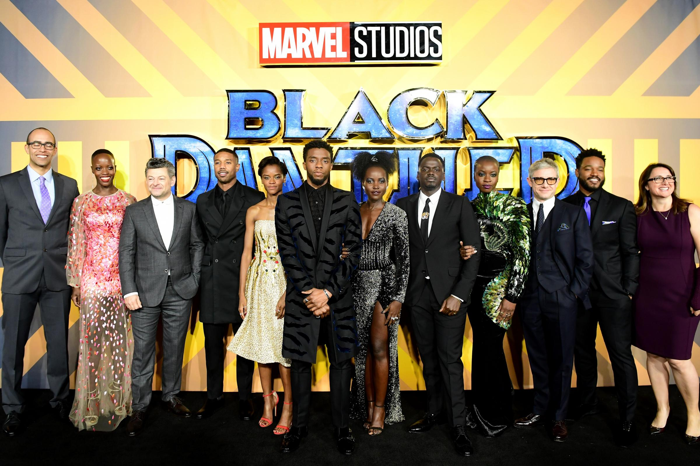 The cast and crew of Black Panther at the film's European premiere in London (Ian West/PA)