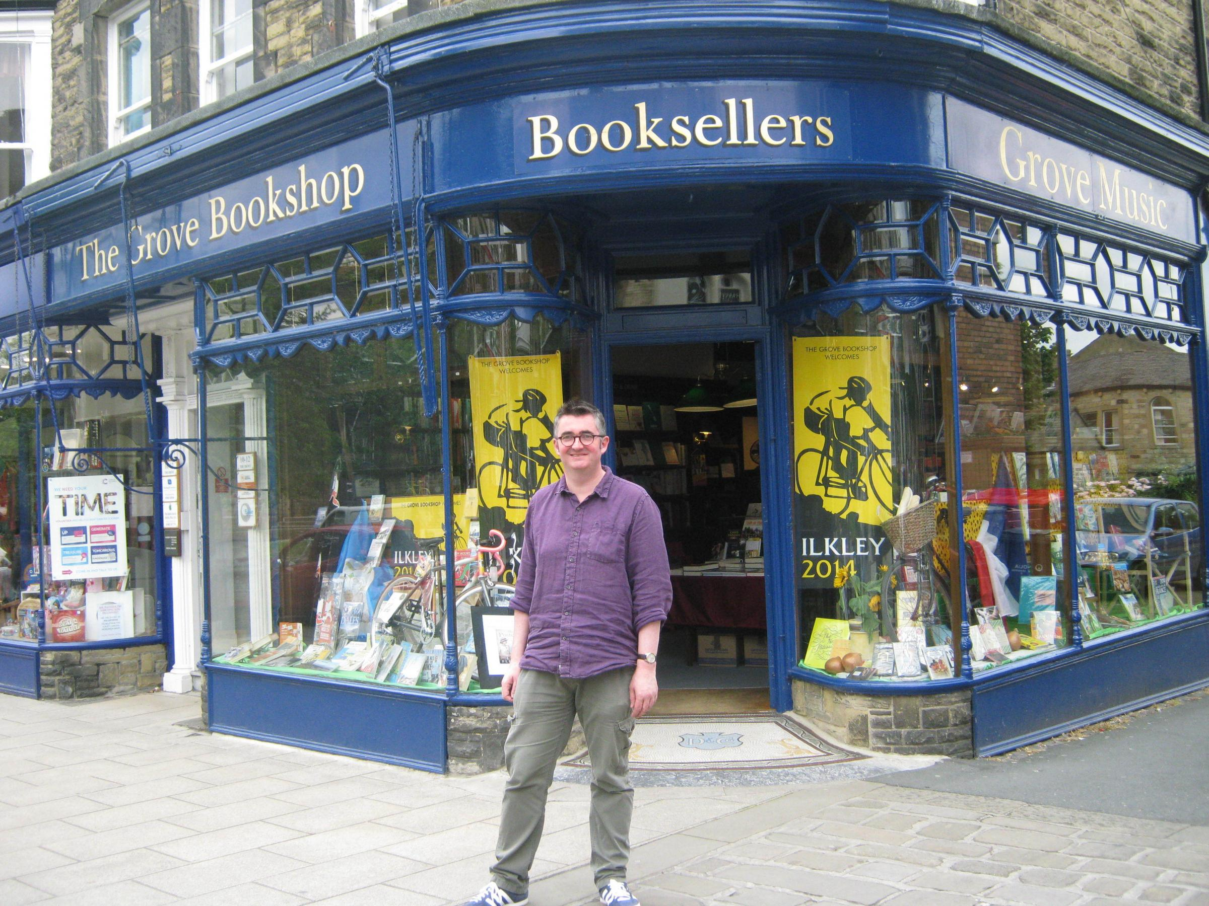 Manager of The Grove Bookshop, Mike Sansbury, outside the shop