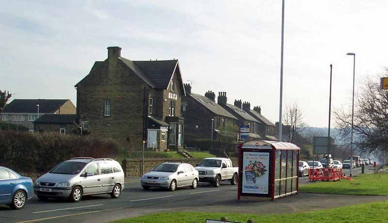 Congestion on a November Saturday on the A65 in Yeadon.