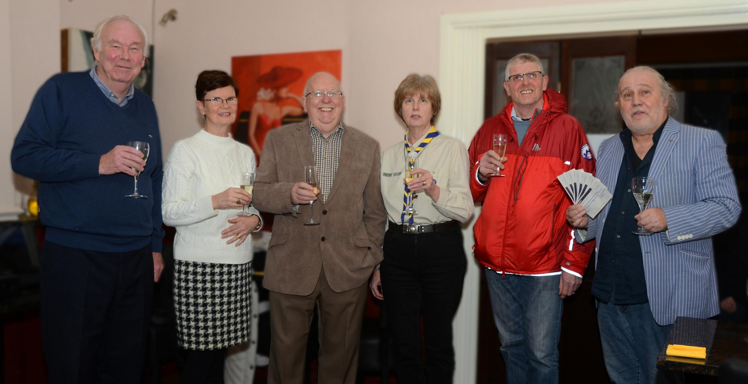 (Left to right) Ilkley Wharfedale Rotary Club President Tony Kendall with Mary Hamilton (CABAD), David Carlton (The Beamsley Project), Judith Dickinson (Ilkley Christchurch Scouts), Stuart Benson (Upper Wharfedale Fell Rescue Association), and Rotarian Pe