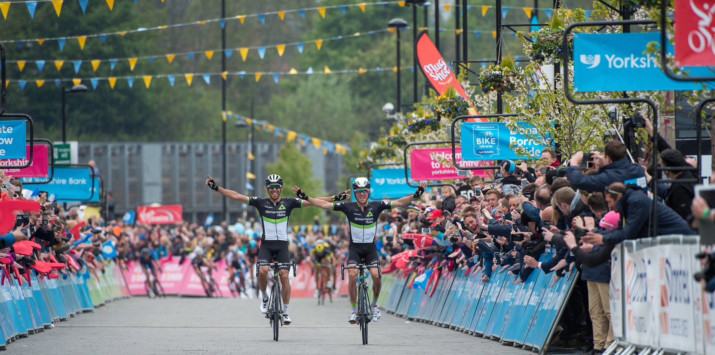Serge Pauwels and Omar Fraile crossing the finishing line of the 2017 Tour de Yorkshire. SWPix.com