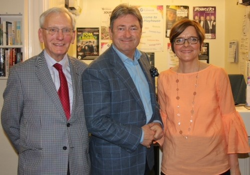 Pictured left to right are: Ilkley Playhouse President, Roger Davy, Patron Alan Titchmarsh and Marcia Nattress. a Trustee who chaired the Q & A.Photo by Ann Mutton