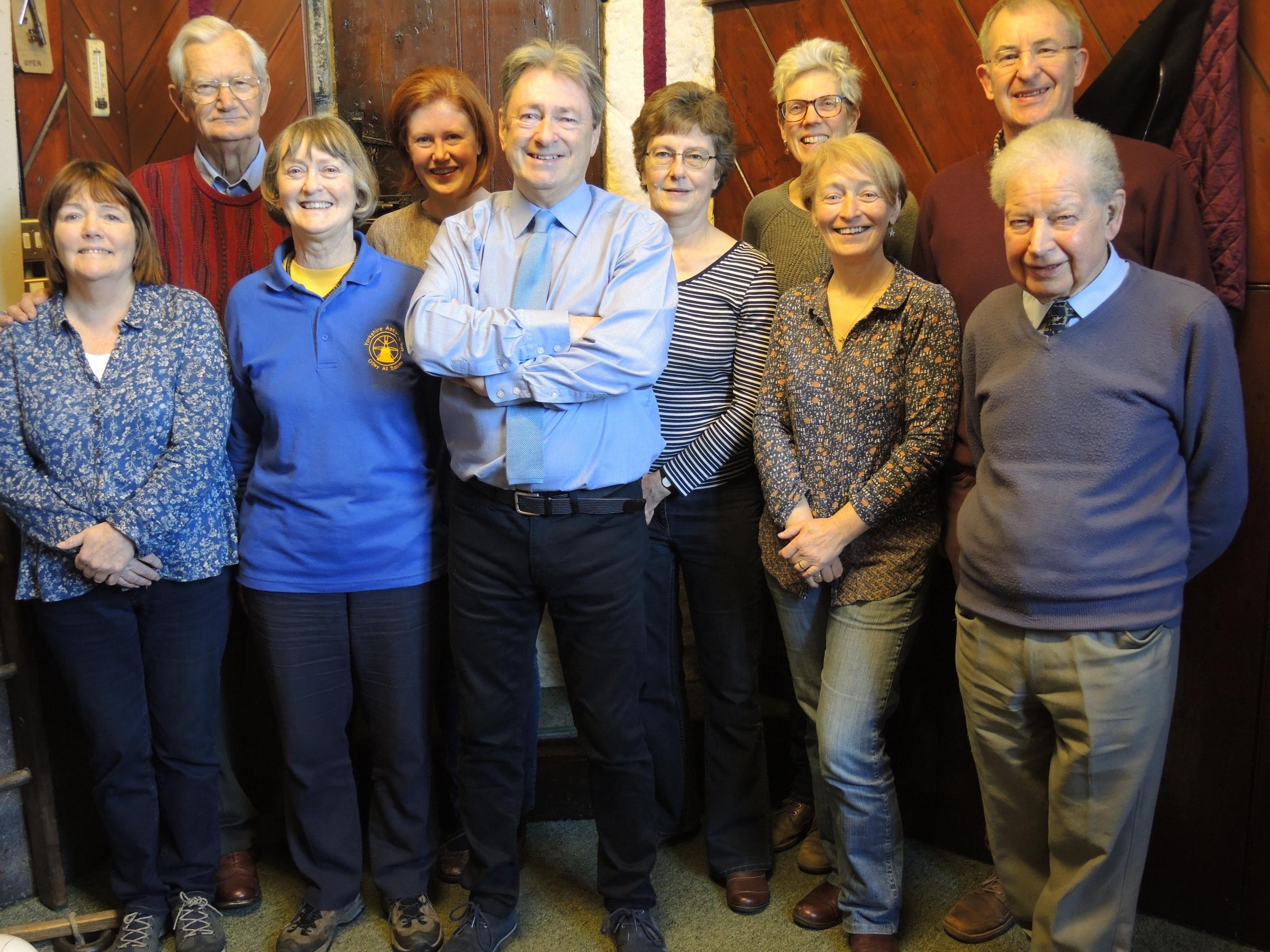 Ilkely ringers with Alan Titchmarsh.