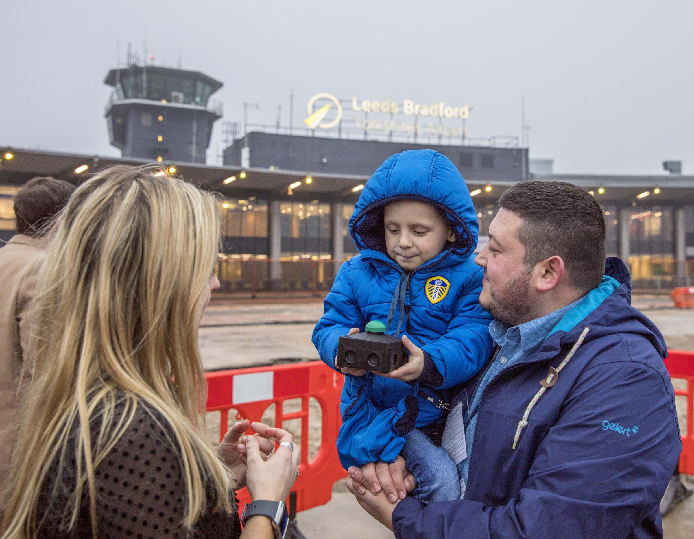 Toby Nye with his Dad Simon, unveils Leeds Bradford Airport's updated brand, Yorkshire's Airport.