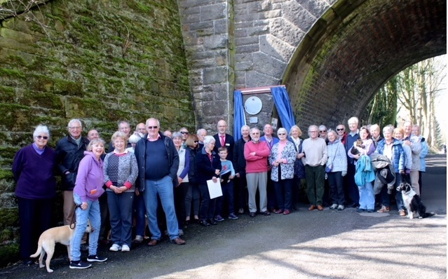 Addingham Civic Society's ninth blue plaque is unveiled. It marks the site of the old railway bridge which spans Back Beck Lane near the village school