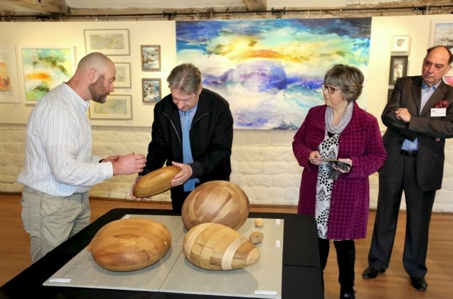 Alan Titchmarsh being shown sculpture by Ken Jaquiery (left) with artist Lucia Smith and Sir Rodney Brooke, chair of Ilkley Manor House Trust