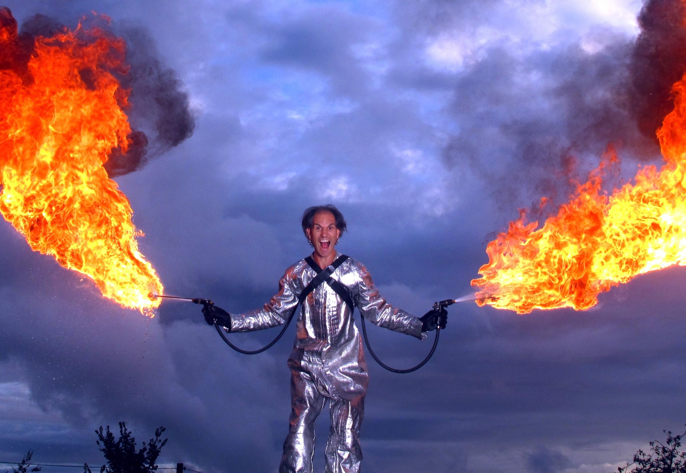 Joseph Peace performing in his Fire Stunt Spectacular