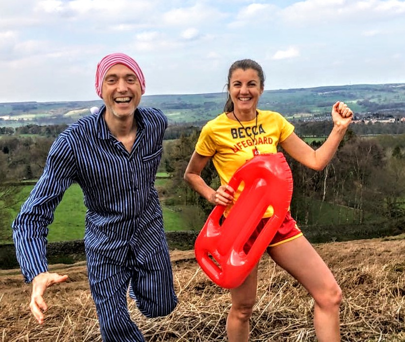 Rebecca César de Sá and David Stoneman who are both attempting Guinness World Records at the London Marathon on Sunday