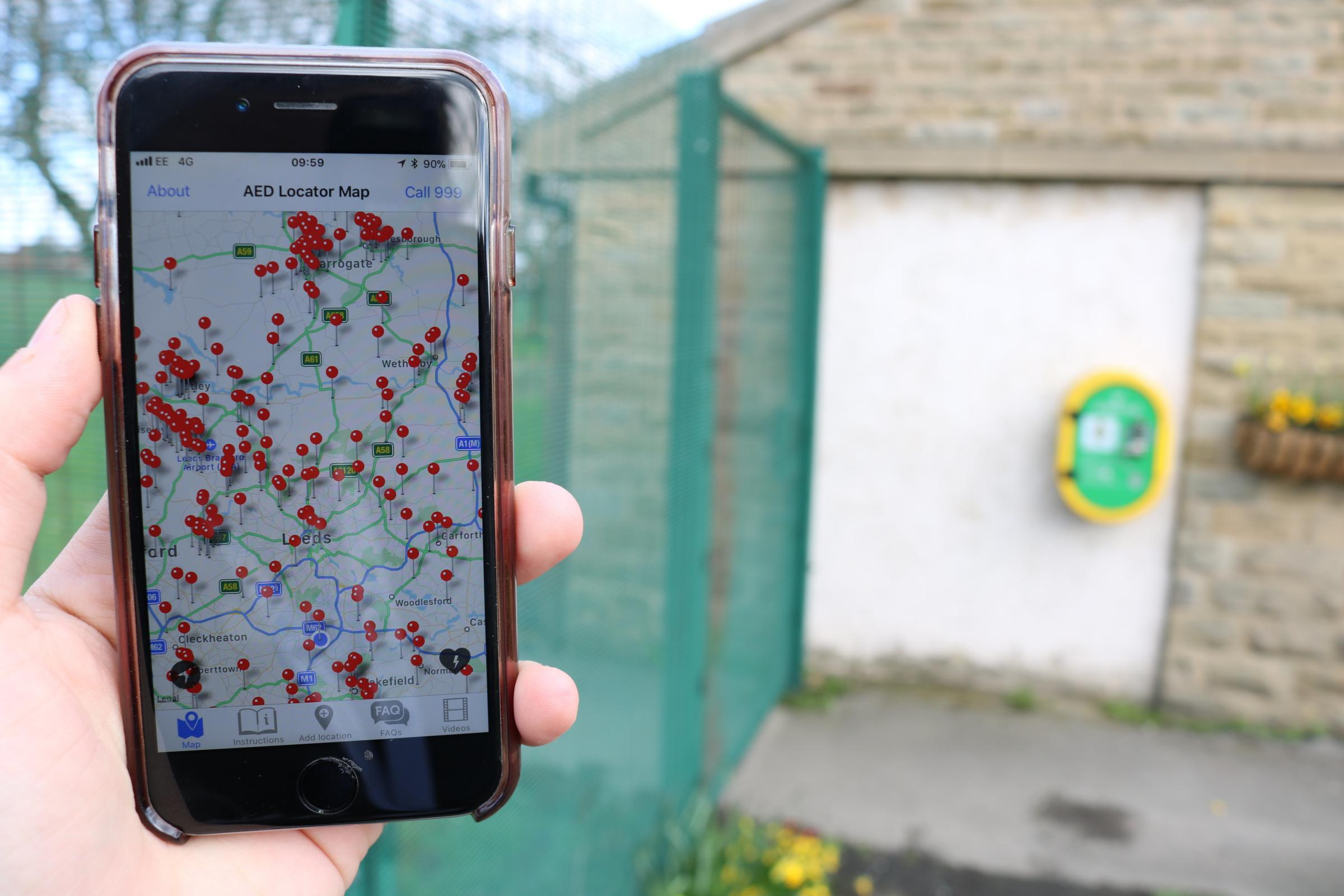 An app containing details of community defibrillators across Keighley and the rest of the region has been launched