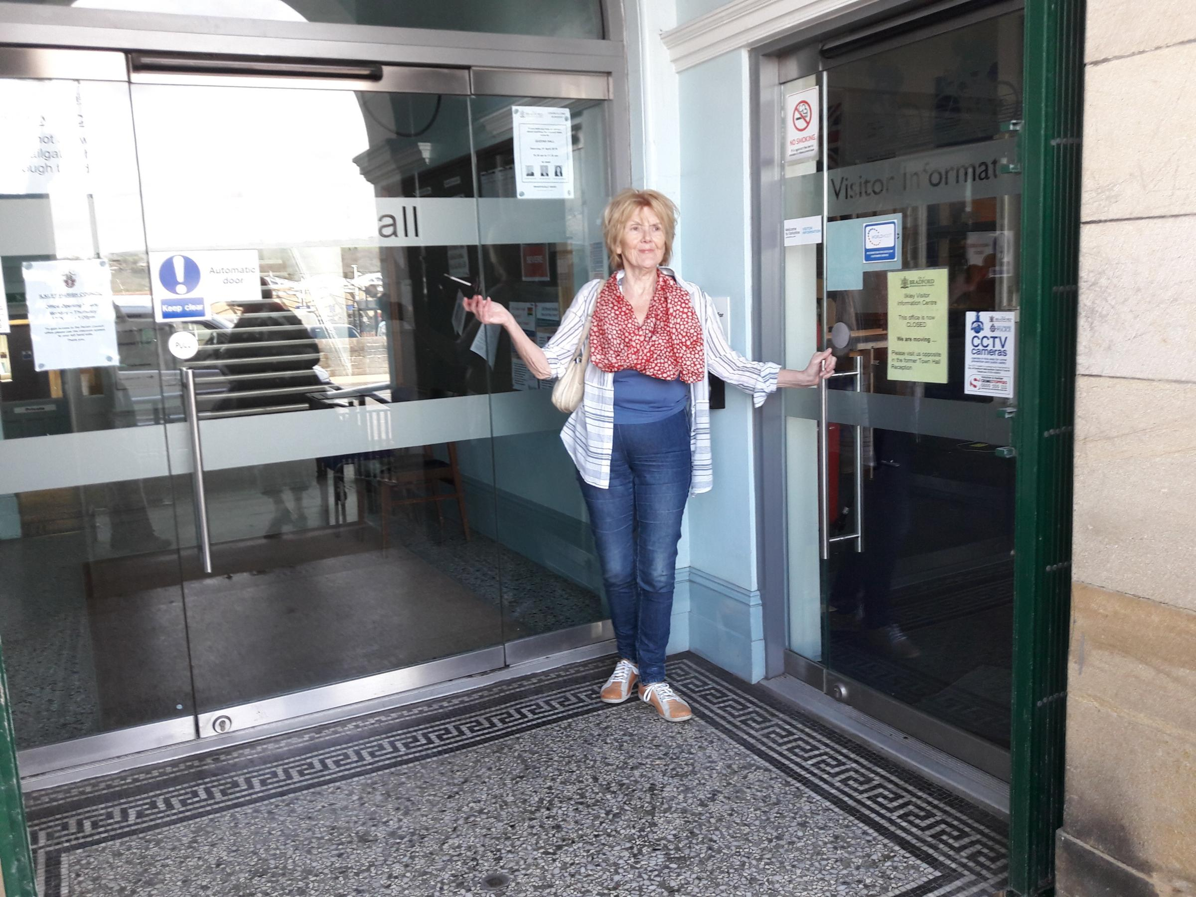 Cllr Anne Hawkesworth outside the closed Visitor Information Centre