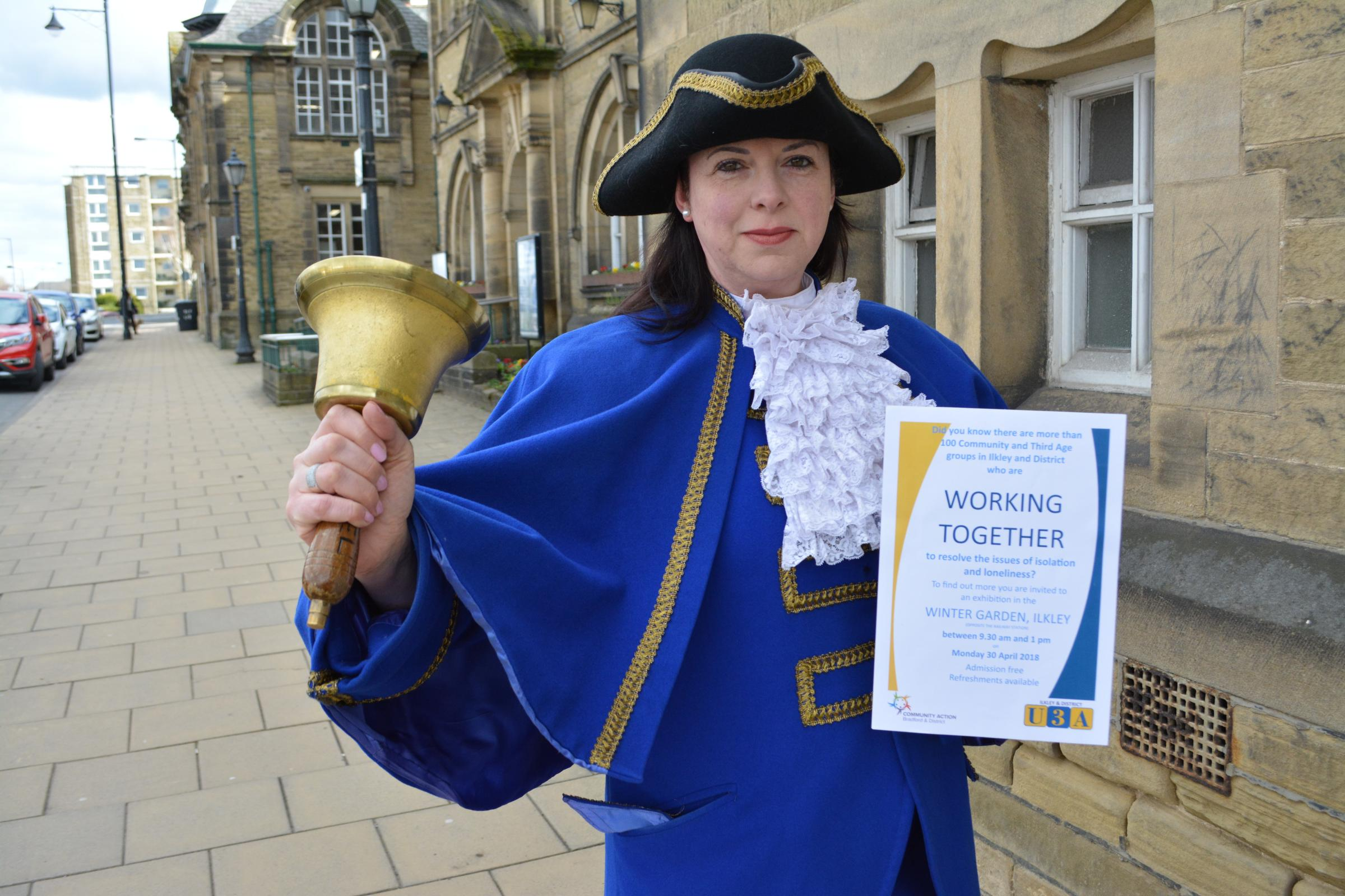 Ilkley Town Crier Isabel Ashman who is helping to spread the word about a major event to tackle social isolation and loneliness being staged in Ilkley on Monday, April 30