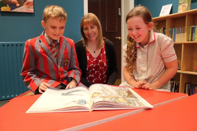 Debbie Davitt reads 'The Lost Words' with Ghyll Royd School pupils Heidi Johnson and William Teal