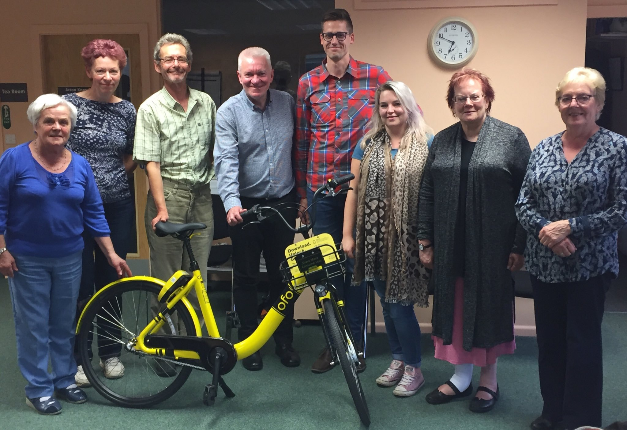 Otley Town Councillors with Adam Rose, from bike sharing company ofo, during a presentation about the firm's plans for Leeds