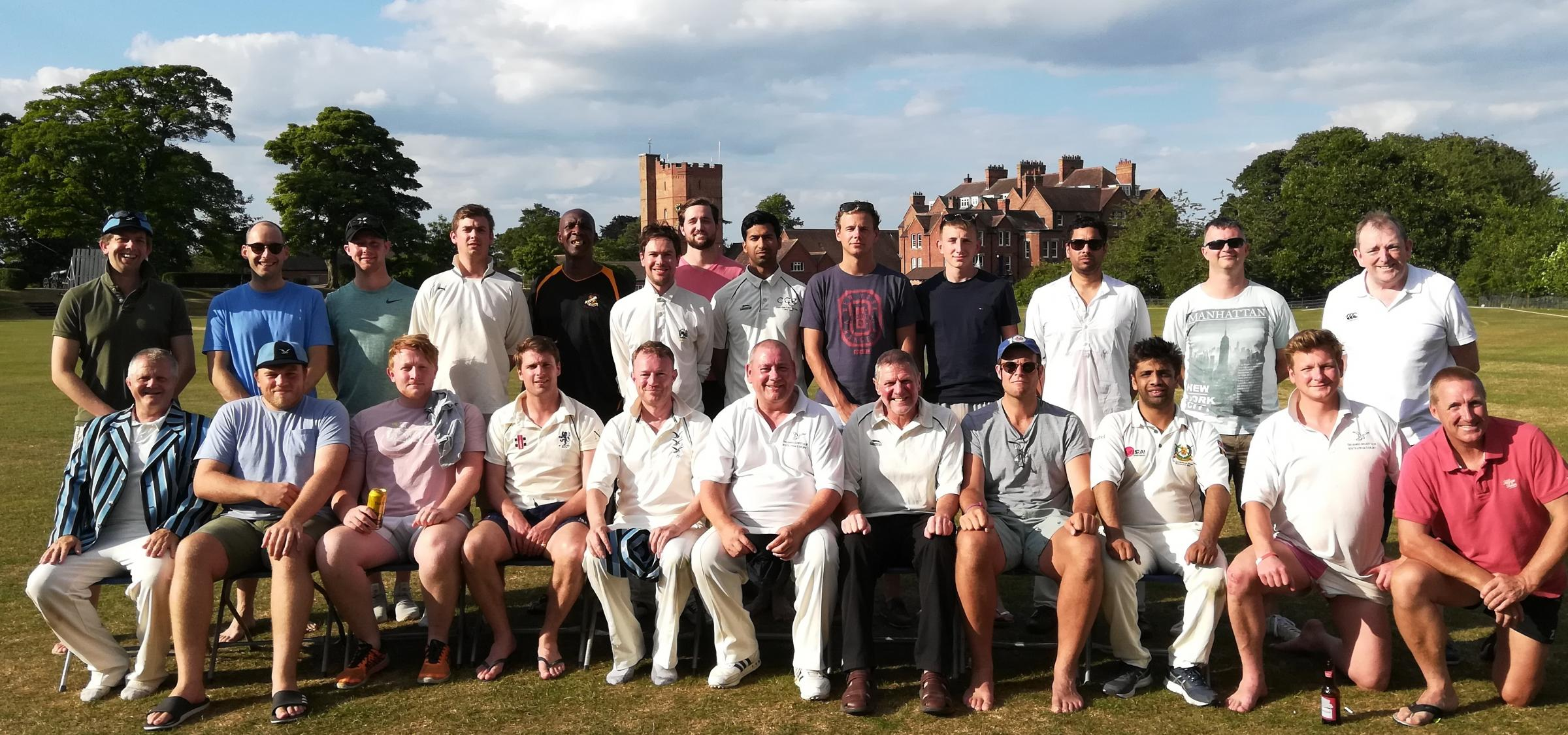 THE Hawks CC and The Harrow Wanderers line up after competing for the Howard Reeve Memorial Match.