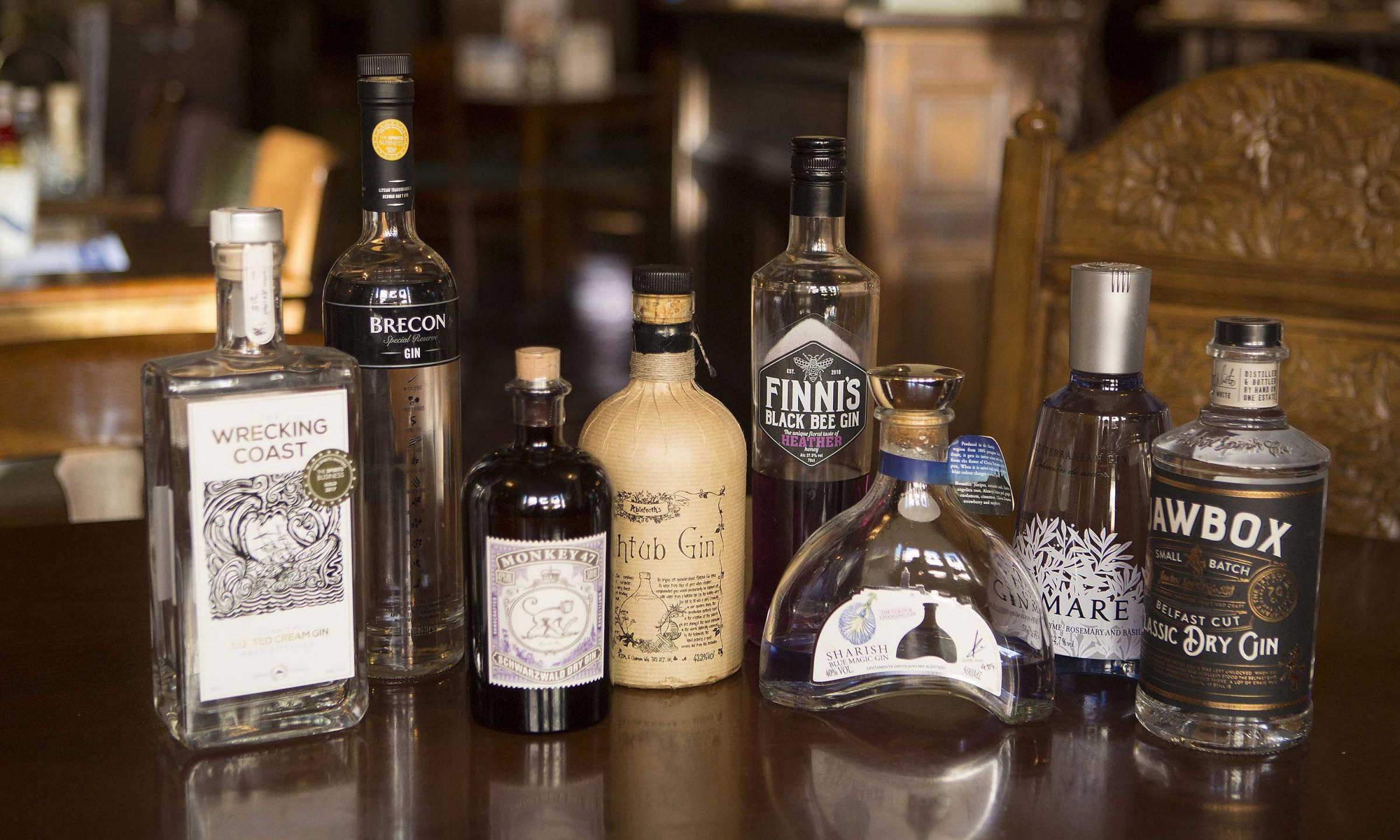 Some of the varieties that will be on offer when The Lister Arms at Ilkley holds its Gin Festival