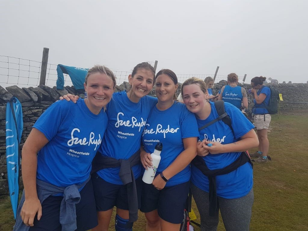 Yorkshire Three Peaks conquerors - Gemma Ellison, Helen Quiney, Natalie Harding and Laura Law from Westgate Surgery, Otley