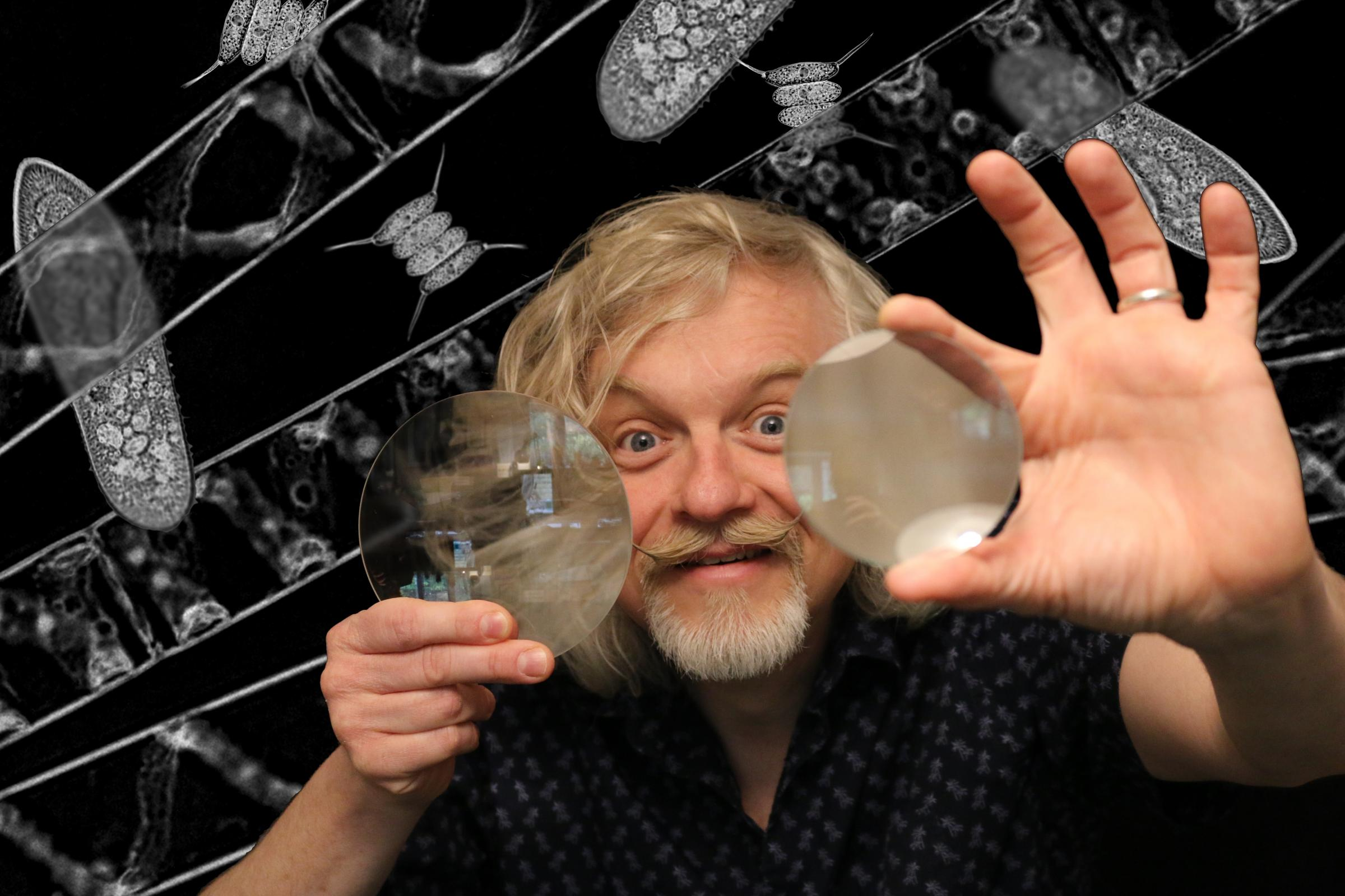 Dr Marty Jopson took the audience on a 'microscopic safari' at the 2018 Otley Science Festival