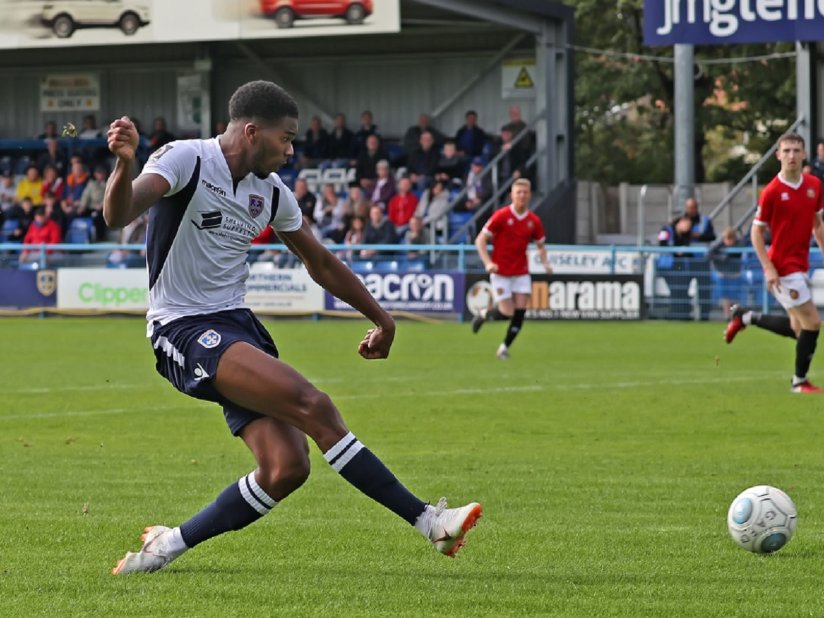 Rowan Liburd fired Guiseley in front but it proved a false dawn as Lancaster progressed    Picture: Alex Daniel Photography