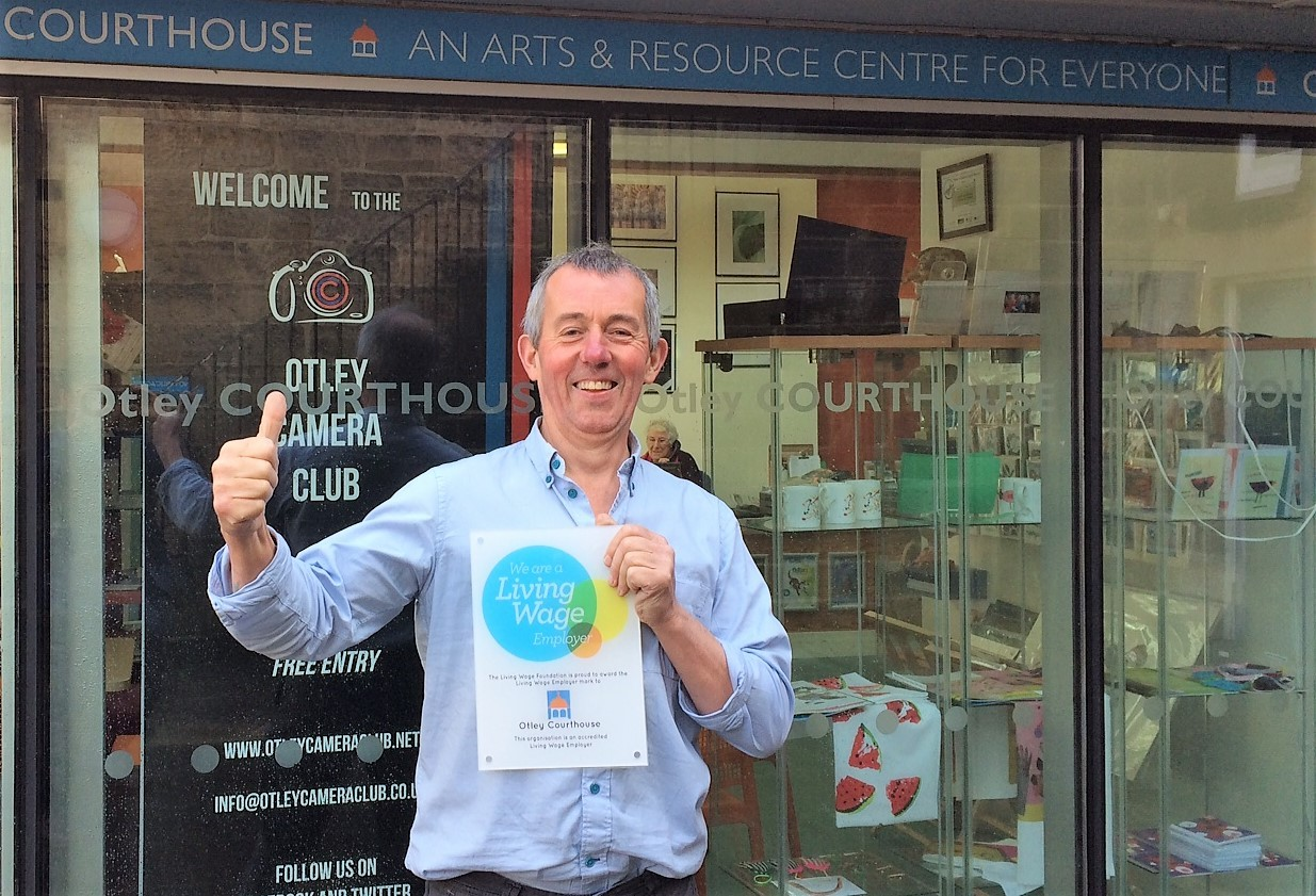 Chair David Robson celebrating Otley Courthouse's accreditation as a Living Wage Employer