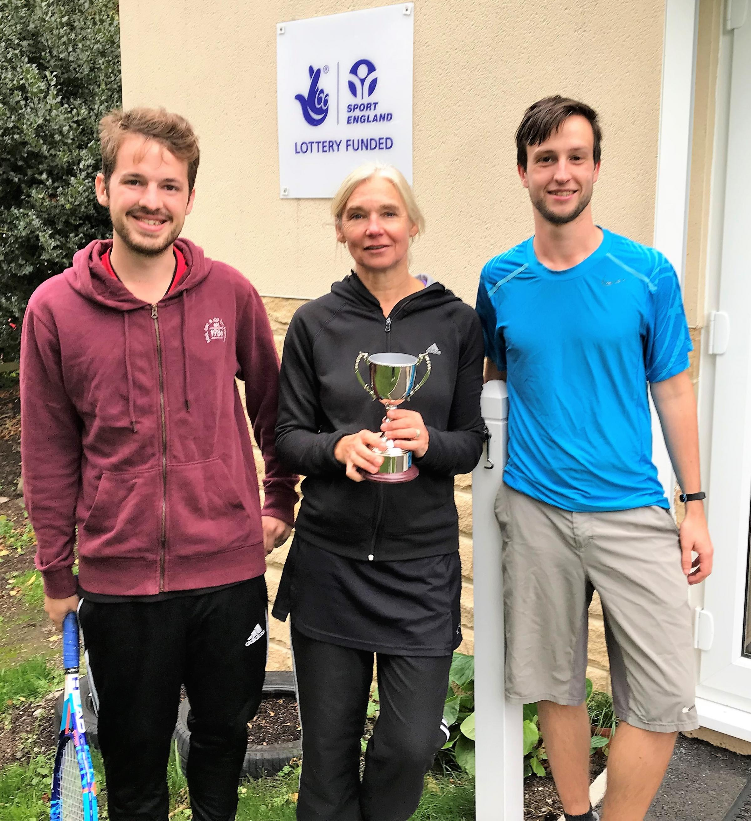 Three of Grove Hill Tennis Club's victorious Medley B Team  - Captain Nicki Brown (centre) with Richard Fawcett and Adam Haigh