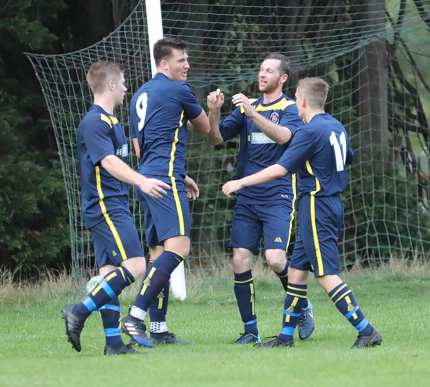 Toby Harris celebrates scoring one of his four goals for Ilkley Town