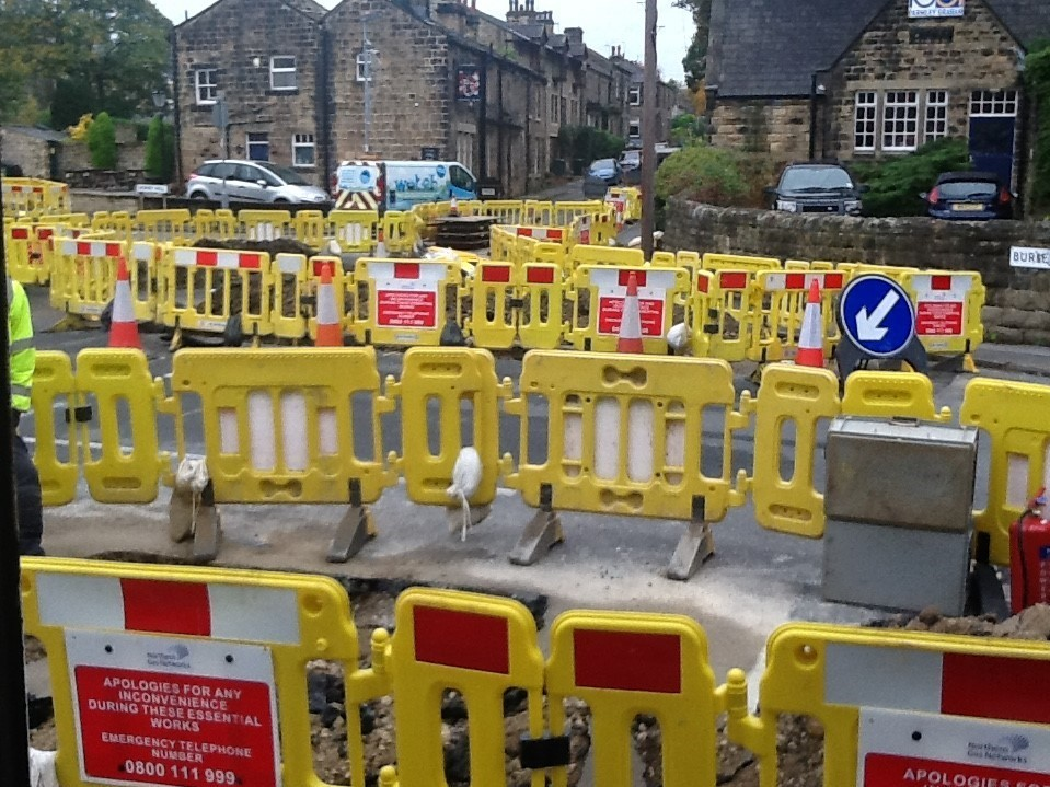 The scene at the junction of Main Street, Burley Lane and Derry Hill in Menston on Monday morning.