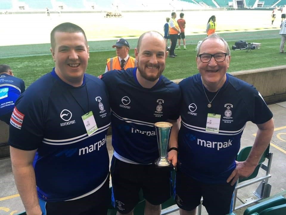 In line for a national award - Old Otliensians coaches Harrison Marshall, Kris Stafford and Stephen Quinn with the RFU Junior Vase at Twickenham. Voting is now open for the UK Great Coaching Moment of the Year, with the Otliensians trio up against Gareth