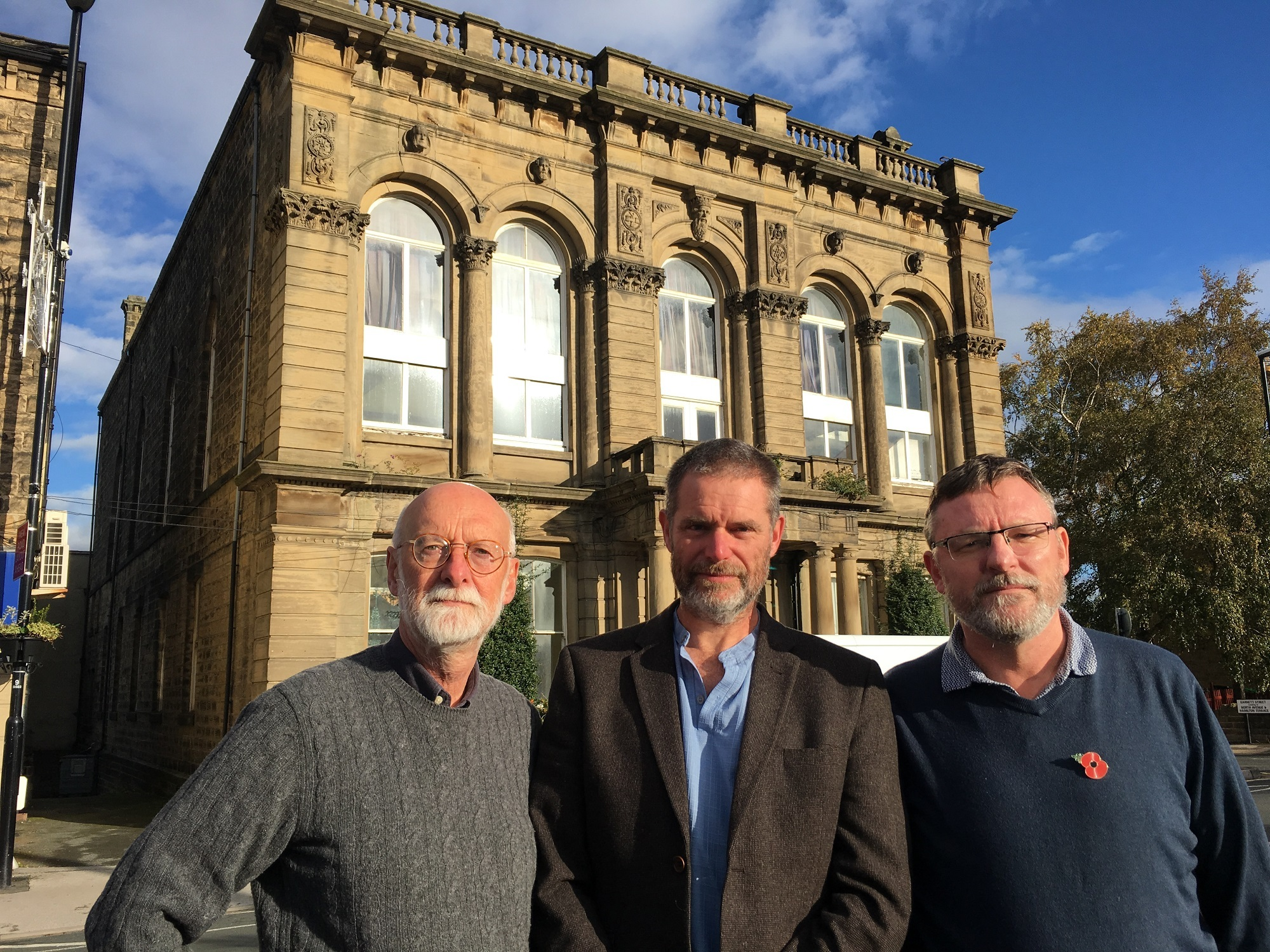 Councillors Colin Campbell, Ryk Downes and Sandy Lay outside Otley Civic Centre